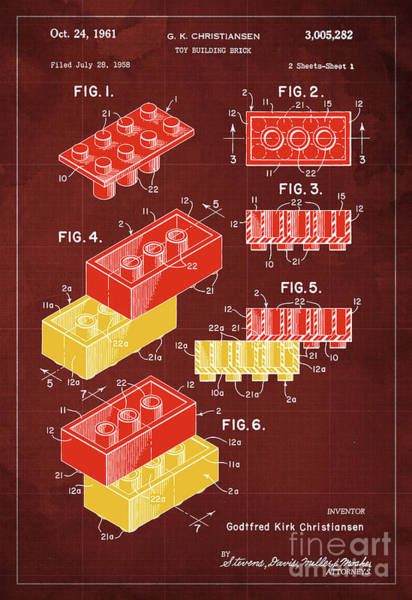 Wall Art - Painting - Toy Building Brick Patent Year 1958 Blueprint by Drawspots Illustrations