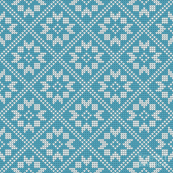 Knitting Digital Art - Traditional Scandinavian Pattern. Nordic Ethnic Seamless Knitted Background by Marchela Mozhyna