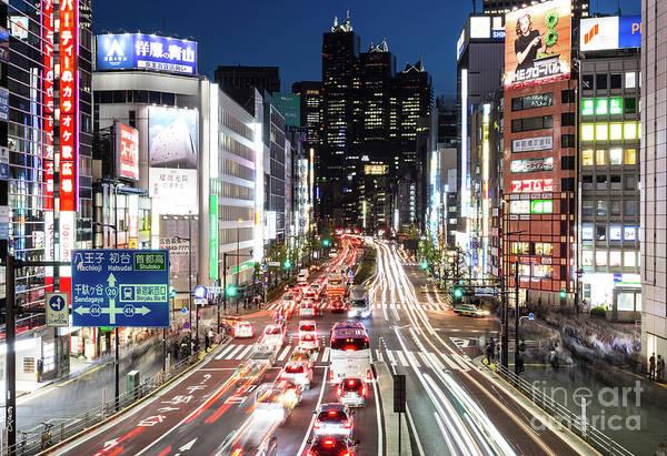 Photograph - Traffic Rush In Shinjuku, Tokyo by Didier Marti