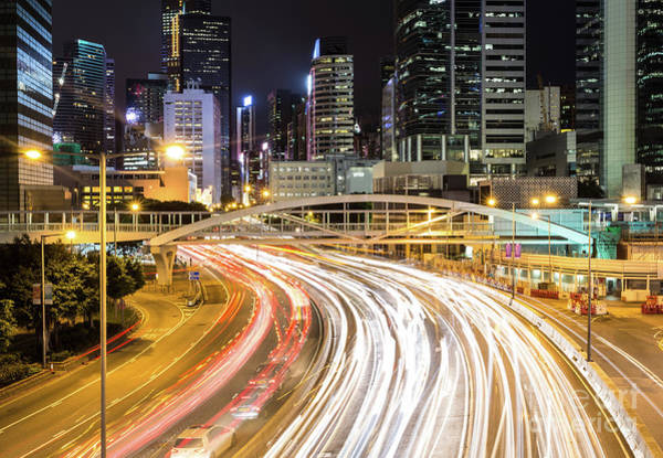 Photograph - Traffic Rushing In In The Central Business District In Hong Kong by Didier Marti