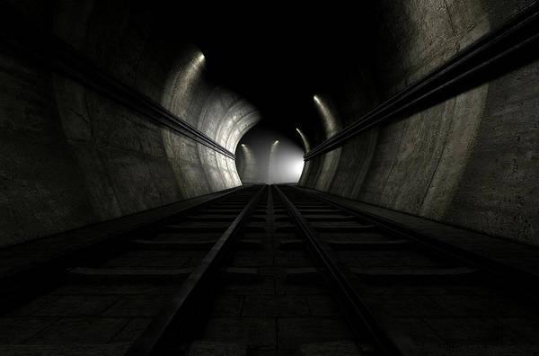 Train Tracks Digital Art - Train Tracks And Approaching Train by Allan Swart