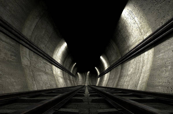 Train Tracks Digital Art - Train Tracks And Tunnel by Allan Swart