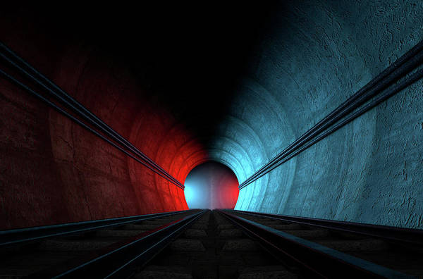 Options Wall Art - Digital Art - Train Tracks And Tunnel Split Choices by Allan Swart