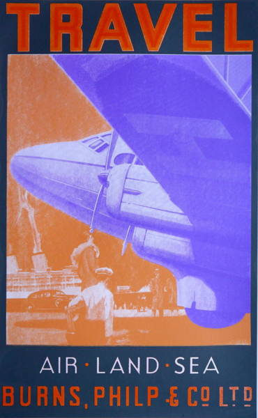 Vintage Airplane Drawing - Travel Air Land Sea by David Studwell