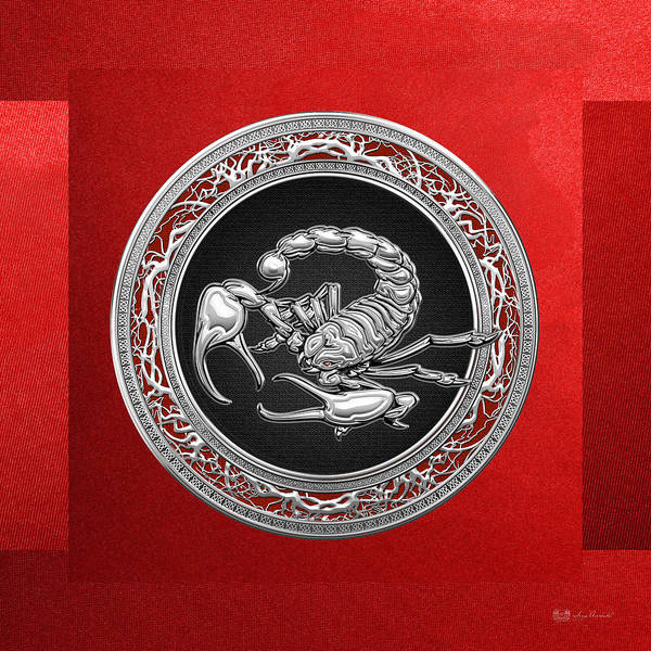 Ancient Photograph - Treasure Trove - Sacred Silver Scorpion On Red by Serge Averbukh
