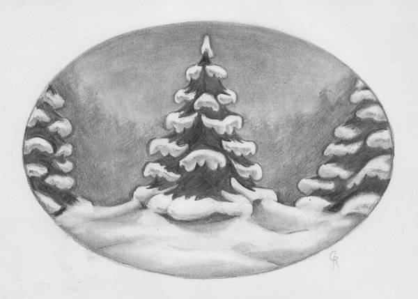 Evergreen Trees Drawing - Tree Frosting by Cheri Crawford