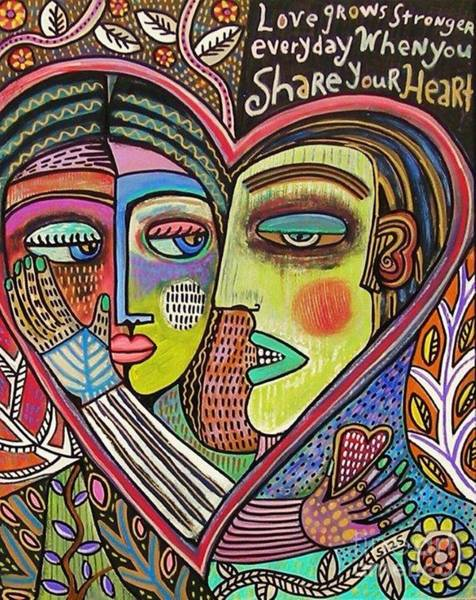 Totem Pole Wall Art - Painting - Tree Of Life Heart Lovers by Sandra Silberzweig