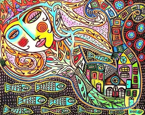 Tree Of Life Village Mermaid Art Print