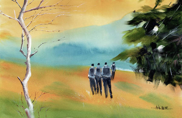 Painting - Trekking by Anil Nene