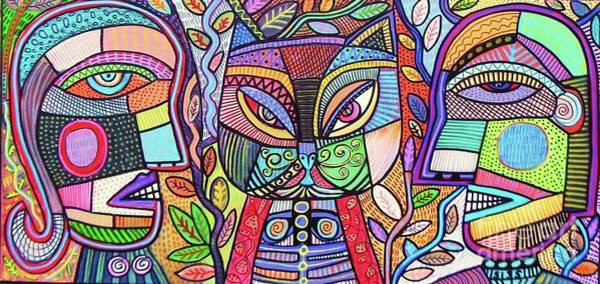 Wall Art - Painting - Tribal Mosaic Cat Garden by Sandra Silberzweig