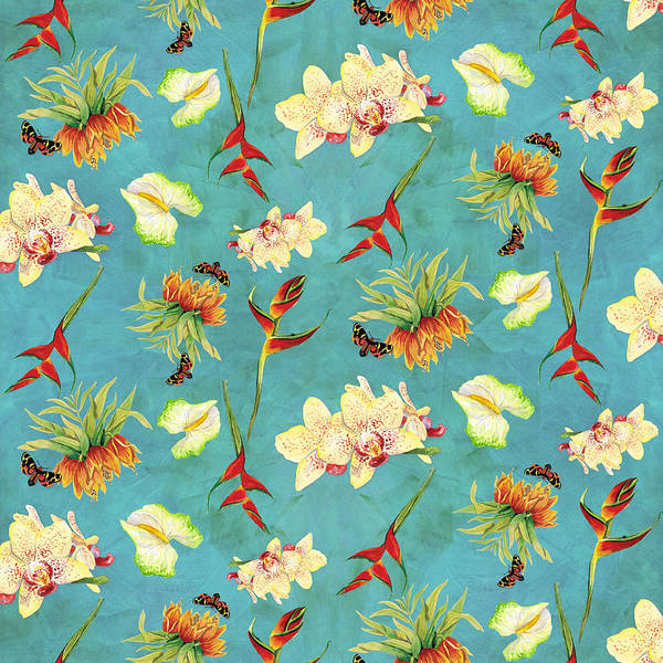 House Wall Art - Painting - Tropical Island Floral Half Drop Pattern by Audrey Jeanne Roberts