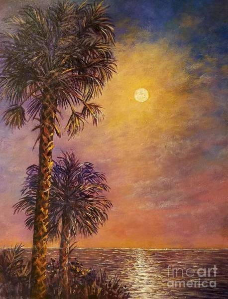 Wall Art - Painting - Tropical Moon by Lou Ann Bagnall