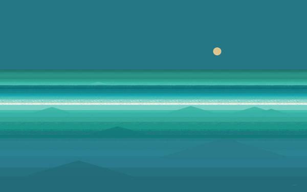 Wall Art - Digital Art - Tropical Sea Moonrise by Val Arie