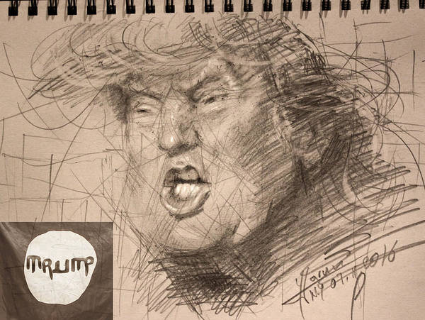 Election Wall Art - Drawing - Trump by Ylli Haruni