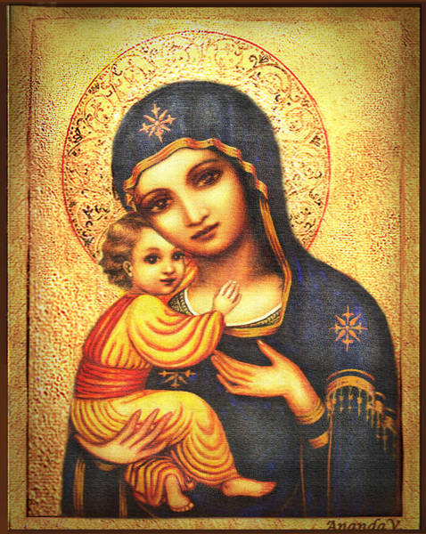 Wall Art - Painting - Tryptichon Madonna by Ananda Vdovic