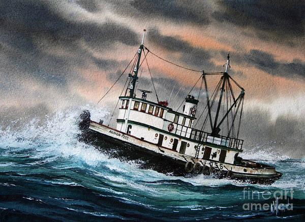Tugboat Wall Art - Painting - Tugboat Arthur Foss by James Williamson