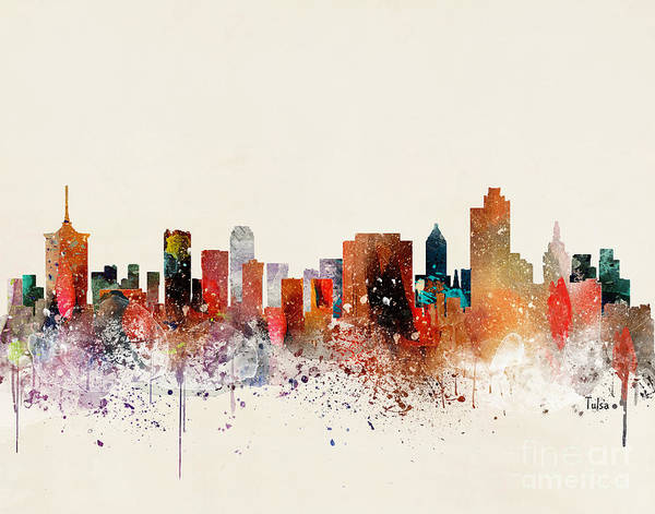 Wall Art - Painting - Tulsa Skyline by Bri Buckley