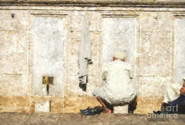 Wall Art - Digital Art - Turkish Man Washing Feet Near Mosque by Patricia Hofmeester