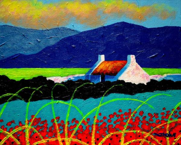 Wall Art - Painting - Turquoise Meadow And Poppies by John  Nolan