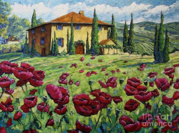 Floral Shower Curtain Painting - Tuscan Poppies by Richard T Pranke