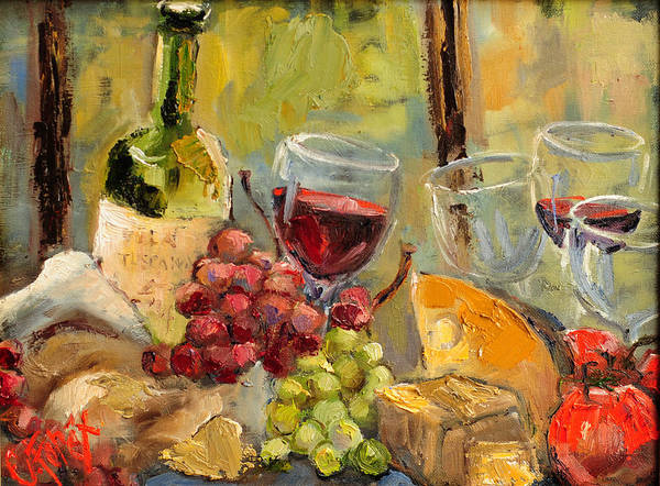 Bread And Wine Painting - Tuscan Table by Carole Foret