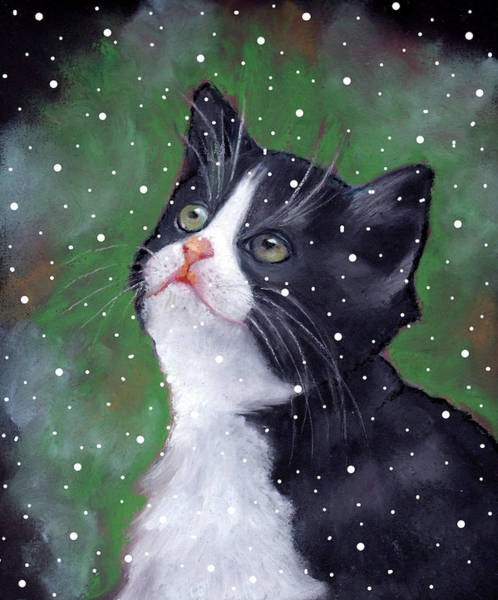 Wall Art - Pastel - Tuxedo Cat With Snowflakes by Joyce Geleynse