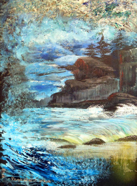 Painting - Twilight Cliffs by Pam Halliburton