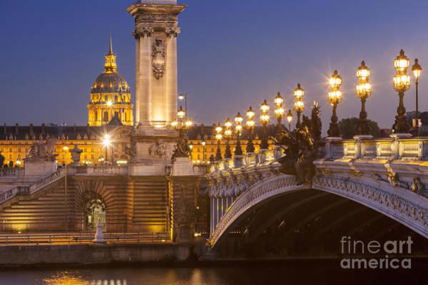 Invalides Photograph - Twilight - Pont Alexandre IIi by Brian Jannsen