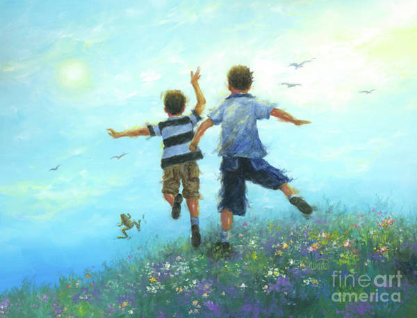 Wall Art - Painting - Two Brothers Leaping by Vickie Wade