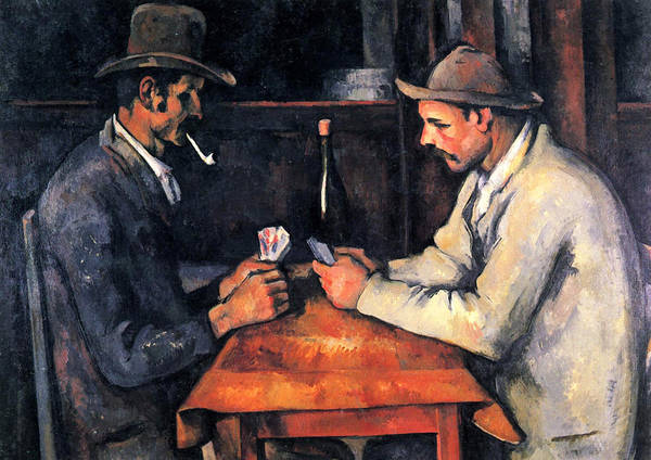 Gaming Painting - Two Card Players by Paul Cezanne