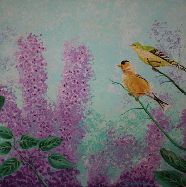 Painting - Two Chickadees by M Valeriano