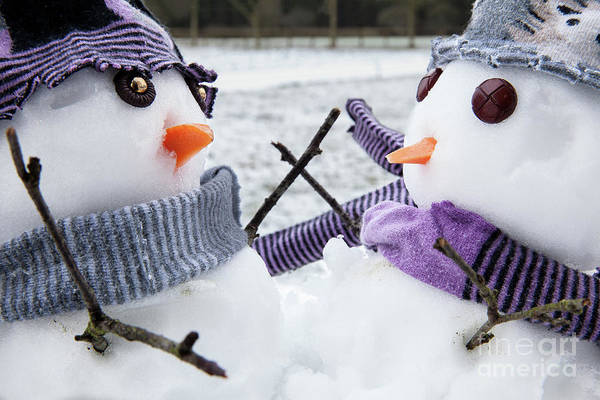 Jolly Holiday Photograph - Two Cute Snowmen Friends Embracing by Simon Bratt Photography LRPS
