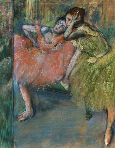 Corset Painting - Two Dancers In The Foyer by Edgar Degas