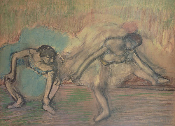Warming Up Wall Art - Pastel - Two Dancers Resting by Edgar Degas
