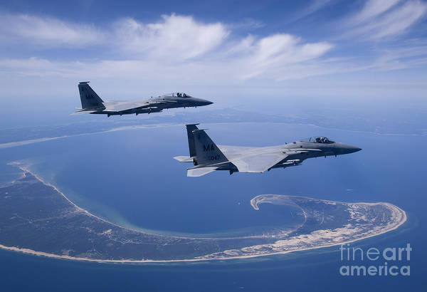Aerial Combat Photograph - Two F-15 Eagles Fly High Over Cape Cod by HIGH-G Productions