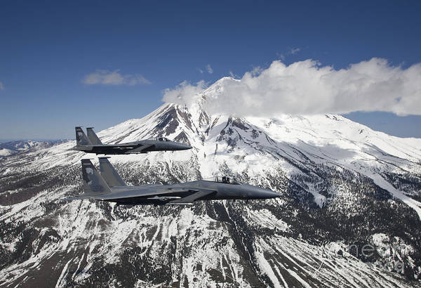 Aerial Combat Photograph - Two F-15 Eagles Fly Past Snow Capped by HIGH-G Productions