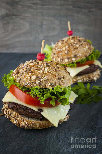 Fast Food Wall Art - Photograph - Two Gourmet Hamburgers by Elena Elisseeva