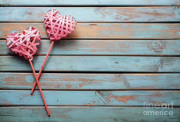 Wall Art - Photograph - Two Hearts On Wooden Background by Kati Finell