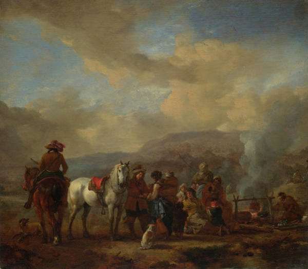 Transport Painting - Two Horsemen At A Gipsy Encampment by Philips Wouwerman