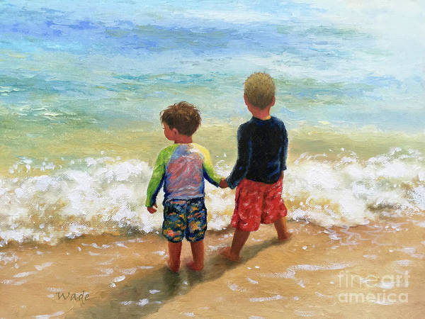Wall Art - Painting - Two Little Beach Boys Holding Hands by Vickie Wade