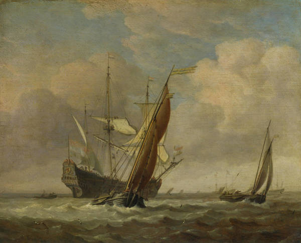 Ocean Scape Painting - Two Small Vessels And A Dutch Man-of-war In A Breeze by Willem van de Velde