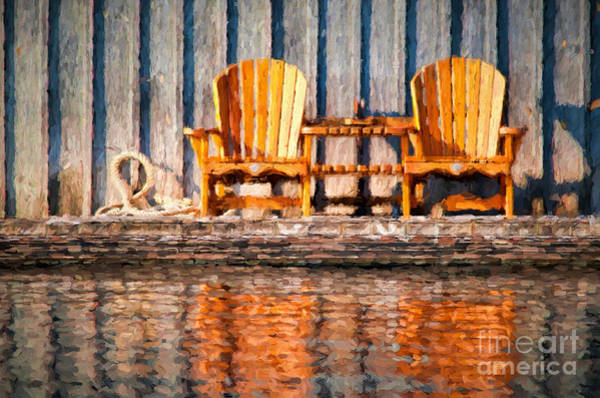 Photograph - Two Wooden Chairs by Les Palenik