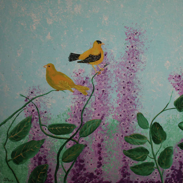 Painting - Two Yellow Chickadees by M Valeriano