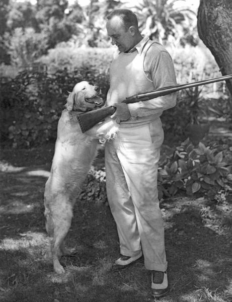Photograph - Ty Cobb With His Dog by Underwood Archives