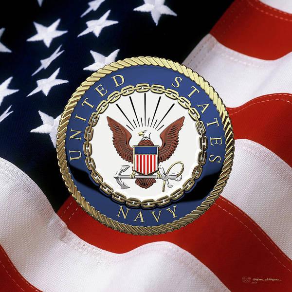Wall Art - Digital Art - U. S.  Navy  -  U S N Emblem Over American Flag by Serge Averbukh