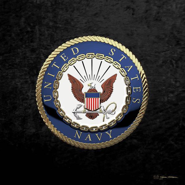 Wall Art - Digital Art - U. S.  Navy  -  U S N Emblem Over Black Velvet by Serge Averbukh