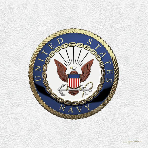 Wall Art - Digital Art - U. S.  Navy  -  U S N Emblem Over White Leather by Serge Averbukh