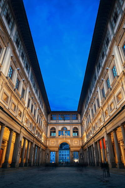 Photograph - Uffizi Gallery At Night by Songquan Deng