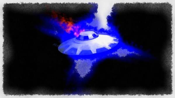 Crash Painting - Ufo Blue In Flames by Esoterica Art Agency