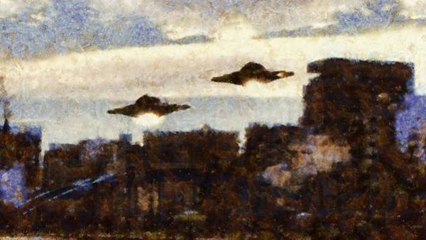 Area 51 Wall Art - Painting - Ufo In The City by Esoterica Art Agency